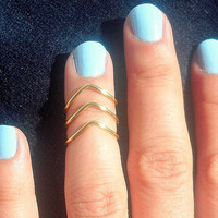 3 Gold Chevron Knuckle Rings  Gold Chevron Above The by TinyBox12