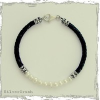 Pearl and sterling silver bracelet on black leather by silvercrush