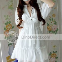 JNYiYi Elegant Women Bow Tie Puff Short Sleeve Dress - DinoDirect.com