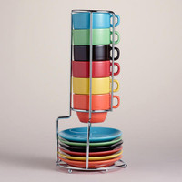 Multicolor Stacking Mugs or Espresso Cups Sets of 6 - World Market