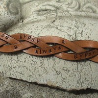 Personalized  Ultra thin  1/2 inch wide  by leathermadenice