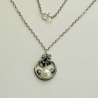 sterling silver and pearl necklace with tiny blue by silvercrush