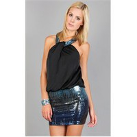 D10030MMU Blue Waterfall Sequin Halter Dress and Womens Fashion Clothing  Shoes - Make Me Chic