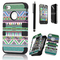 For iPhone 4 4S Hard 3-Piece Hybrid High Impact Aztec Tribal Case Cover + Stylus