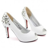 Fashionable and Luxurious Style Dazzling Rhinestone Embellished Peep Toes Design High-Heeled Wedding Shoes China Wholesale - Sammydress.com
