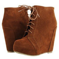 Wedge Lace Up Ankle Booties Boot Chestnut Brown