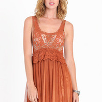 Waking Dream Crochet  Tulle Dress in Rust - $43.00 : ThreadSence.com, Your Spot For Indie Clothing  Indie Urban Culture