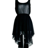 Black Asymmetric Chiffon Sleeveless Dress - Clothing - desireclothing.co.uk