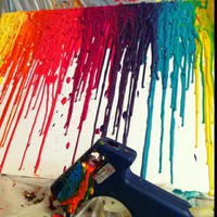 melted crayons! crayons through a hot glue gun onto canvas.