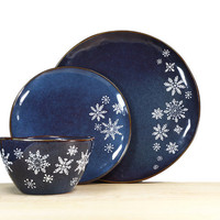 Hand Painted Snowflake Blue Rustic Collection Indigo Stoneware Plates Bowl Winter Kitchen Decor