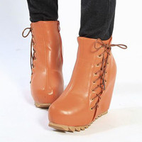 Vogue Orange Side Drawstring Ladies Wedges : Wholesaleclothing4u.com