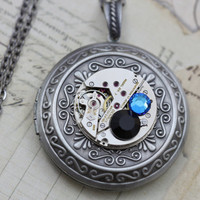 Steampunk Necklace Steam Punk Jewelry Locket - Vintage Benrus Pocket Watch Movement Clockwork Necklaces - Black Blue Swarovski Crystals