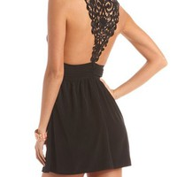 Crochet Inset Woven Little Black Dress