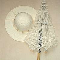 Ivory summer parasol wedding chrochet lace ecru by kroowka on Etsy 75$