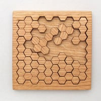 $22.95 Wooden Honeycomb Puzzle  Geometric Shapes by TimberGreenWoods