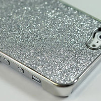 Glitter Glittery Sparkly Silver Bling Hard Case for iPhone 5(Silver)