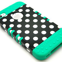Teal Blue Soft Skin Case White Polka Dots Hybrid Hard Cover iPhone 4 4S Phone R