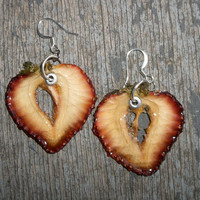Strawberry Sweetheart Earrings  Fruit Jewelry by realfruitjewelry