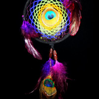 Beaded Dream Catcher with Eye of Peacock Feathers