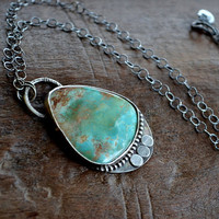 Natural Turquoise and Sterling Silver Necklace by moonovermaize