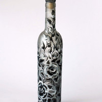 Black and White Roses Hand Painted Bottle by NevenaArtGlass