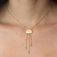 English Rain Gold cloud necklace Turquoise rain by GojoDesign