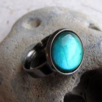 Gunmetal Radar Ring in Absinthe Glow by AshleySpatula on Etsy