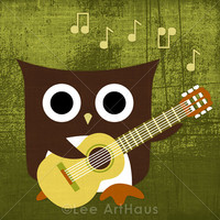 29R Retro Owl With Guitar 6x6 Print on Luulla