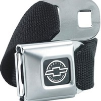 Official Licensed Chevy Car Logo Seat Belt Style Belt Buckle with Black Canvas Webbing