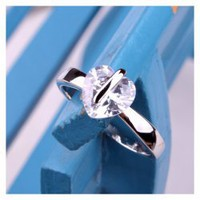 Special Design Concise and Romantic Love Heart Rhinestone Decorated Finger Ring For Women China Wholesale - Sammydress.com