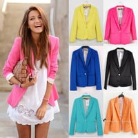 New Fashion Candy Color Basic Slim Foldable Suit Jacket Blazer XS S M L