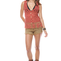 Foreign Exchange :: NEW ARRIVALS :: RUST CROCHET FRINGED VEST