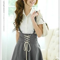 New Women's Cute Solid Gallus Cotton Expansion Skirt Dress