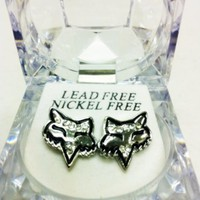 FOX HEAD SILVER ICED EARRINGS