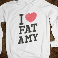 I Heart Fat Amy-Unisex White Hoodie