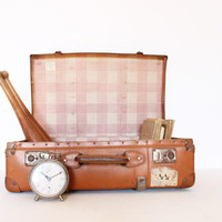Vintage retro orange large suitcase