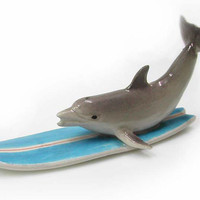 DOLPHIN Surfer on Surfboard New Porcelain NORTHERN ROSE R056 [R056] - $13.99 :
