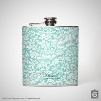 Mint Floral hip flask, liquor hip flask, stainless steel 6 oz hip flask S007