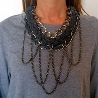 Braids and chains necklace, chrome and grey. FREE SHIPPING