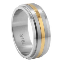8mm Stainless Steel Spinner Ring - Gold IP