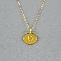 CUSTOM - Hand Stamped Disc Necklace, Initial Letter on Gold Vermeil Disc, 14K Gold Filled Chain, Personalized Necklace, FREE Birthstone