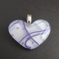 Fused Glass Heart Pendant Slide - Breezy - 3150