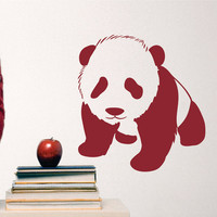 Nursery Wall Decal Dark Red Panda Larger size - Vinyl Wall Art Sticker