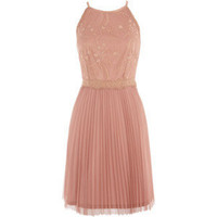 Mid Neutral Lace Bodice Pleat Dress - Oasis - Polyvore