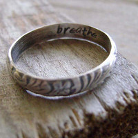 $33.00 Sterling Silver Engraved Floral Ring in Dark Finish by MixedMetals