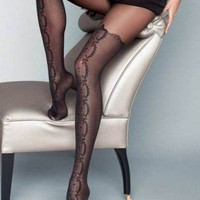 Stivale Mock Hold-Up Fashion Tights in Black by Veneziana at Ireland's Online Hosiery Store DressMyLegs.ie