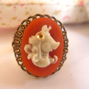 LAST ONE MY Miss Piggy cameo ring by daliadaliak on Etsy