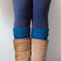 Hand Knit Cable Boot Cuffs in Dark Blue Teal