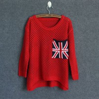 Red Cut Loose Flag Long Sleeve Pullover Sweater