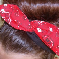 Reversible Dolly Bow, Red Bandanna and Black Rockabilly Wire Headband